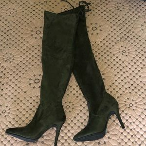 Olive green thigh high boots